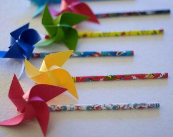 Dr Seuss Birthday Party Pinwheels Paper Pinwheels 6 mini Pencil Pinwheels (Custom orders welcomed)