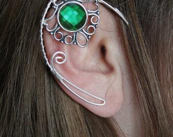 Elven ear cuff - elvish earring - elven ear - elf ear - GREEN