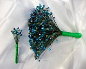 RESERVED for Diana - 450 Peacock Bouquet and Matching Boutonniere