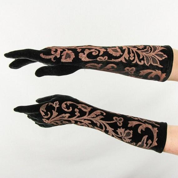 Vintage gloves black velvet 80 s elbow length long gloves bronze