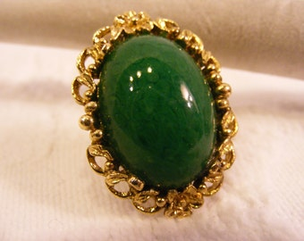 Large Green Cabochon Big Ring, Gold Tone Adjustable Ring,Statement Ring