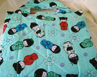 geisha girl in teal Tote designed for ipad nook hd+ kindle fire hdx