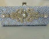 Blue Lilly ... blue and silver lace wedding clutch bag .. with Swarovski crystals and  pearls.. Free shipping within the US