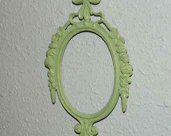 Small Vintage Ornate Frame Painted Green - Shabby Chic-