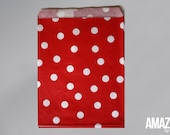 25 red bakery treat bags with white polka dots