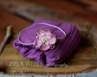 Purple Cheesecloth, Newborn Cheesecloth Wrap, Photo Prop, Newborn Wrap, Newborn Headband, Newborn Layer, Baby Wrap