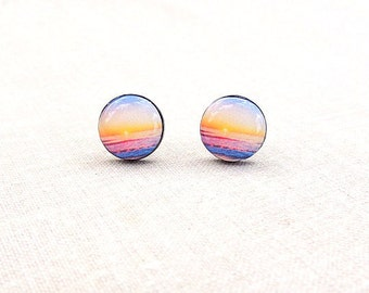 Sunset Sea Stud Earrings - Sunset Earrings - Romantic Earrings - Nautical Jewelry - Gift For Her - Summer Collection By Bloomyjewelry