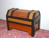 Dower Chest, Treasure Chest, Ebony & Tulip Wood, Dollhouse Miniature 1/12 Scale, Hand Made in the USA