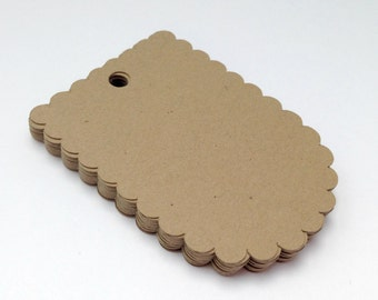 50 Kraft Scalloped Tags, Gift Tag, Favor Tag, Wedding Tag