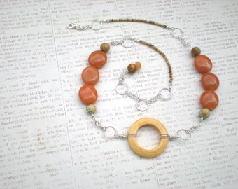 Round 'n round necklace, beaded natural stone, red aventurine, picture jasper, wood, sterling silver, unique jewelry by Grey Girl Designs