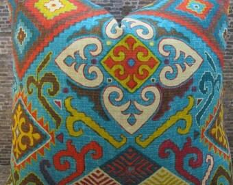 Designer Pillow Cover - 18 x 18, 20 x 20 -  Aztec Floral  Multi