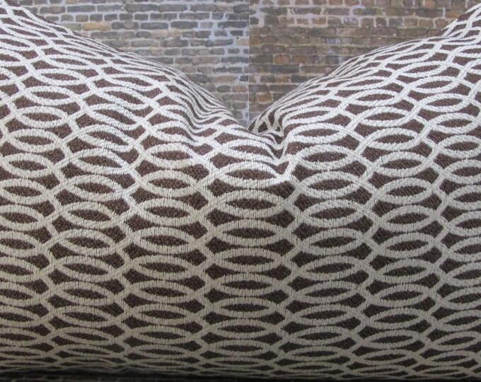 Designer Pillow Cover - 12 x 16, 12 x 18 - Trellis Jacq Espresso