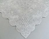 Magnificent Heavily Embroidered Hanky Vintage Ornate Bridal Wedding Floral White Linen Handkerchief Mid Century Hankie