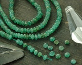 "Emerald Smooth Rondelles / 90 beads 3x1.5mm, 6"" strand / Natural Green Gemstone / Organic Craft, Jewelry Making Supplies - WomanShopsWorld"