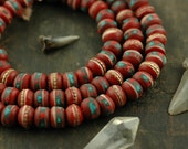 Himalayan Rose / Coral, Turquoise / Red 9x7mm Rondelle Yak Bone Beads from Nepal /Boho Craft, Jewelry Making Supplies / Ready to Ship