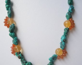 Tropical Vacation Necklace Sun Sea Sand Souvenir Inspired Rare Gemstones -Free Shipping-