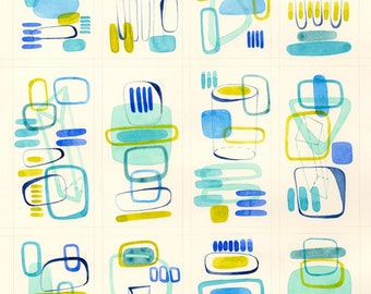 Original Watercolor Abstract Painting Geometric Modern Art blue turquoise teal yellow green chartreuse contemporary interior wall decor