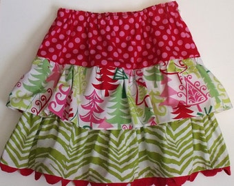 Girl's Christmas Ruffled Skirt