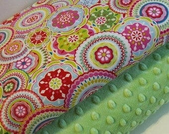 Minky Blanket Kit - Fun Circles- Kit Contains Everything Needed to Make a Baby Blanket (25 x32)