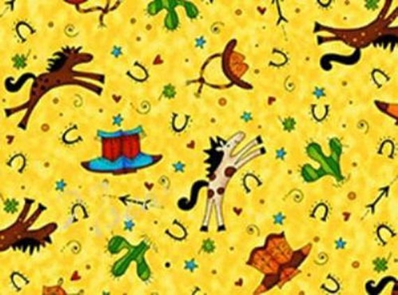 Cowboy fabric horse western giddy up kids on yellow for Kids horse fabric