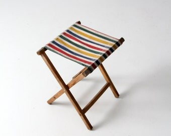 Vintage Camp Stool Striped Canvas Folding Seat