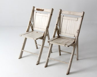 vintage wood folding chairs, pair white slat chairs