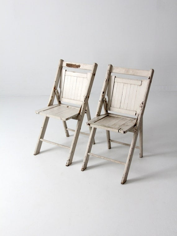 vintage wood folding chairs pair white slat chairs