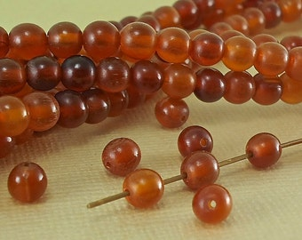 20 Amber color Horn Beads 6mm Round Golden Color Natural Animal Beads Real horn