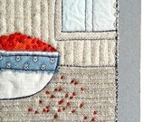 RED BERRIES, Mini Textile Art, Wall Art, ready to frame, gray blue neutral, Interior Decoration