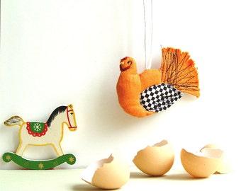 ORANGE HEN ornament, farmhouse decor, happy hen, orange kitchen, hen party decoration, rustic decor, hanging hen, bright accent