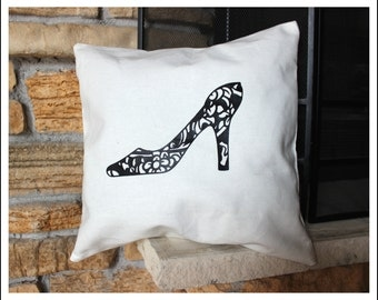 16 Inch Canvas Pillow Cover with High Heel Shoe