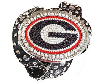 Georgia Bulldogs - Swarovski Crystal Buckle