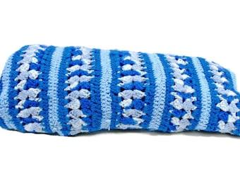 Blue Afghan Vintage Crocheted Lap Throw Blanket