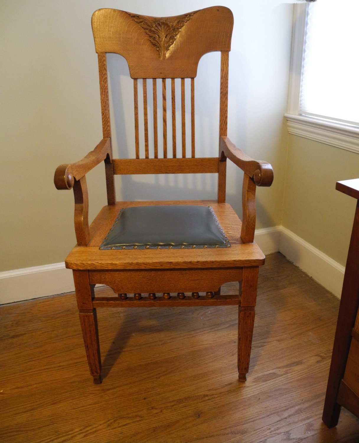 Antique carved back spindle vintage wooden arm chair