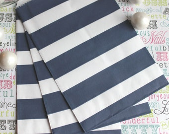 Navy Rugby Stripe Candy Bags, Wedding Candy Bags, Popcorn Bags, Party Favor Bags - 100 count