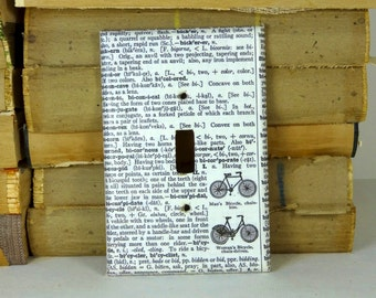 Vintage Paper Literary Bicycle Switchplate Artisan Made Black White Holiday Lighting Home Decoration Exercise Fitness Health Bike Cycling