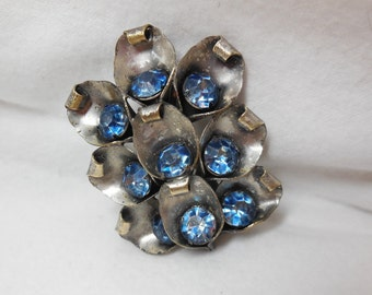 Vintage Dress Clip Silver Blue Rhinestone Sapphire blue Abstract Floral Jacket Purse Hat