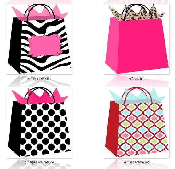Boutique Gift Bags Clipart Printable Gift Bag