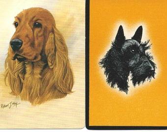 Vintage Playing Cards Single Swap (2) Paper Ephemera Scrapbook Supplies Dogs Trading Cards