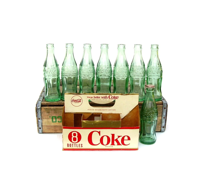 vintage coke bottles green glass coca cola 8 pack carrier