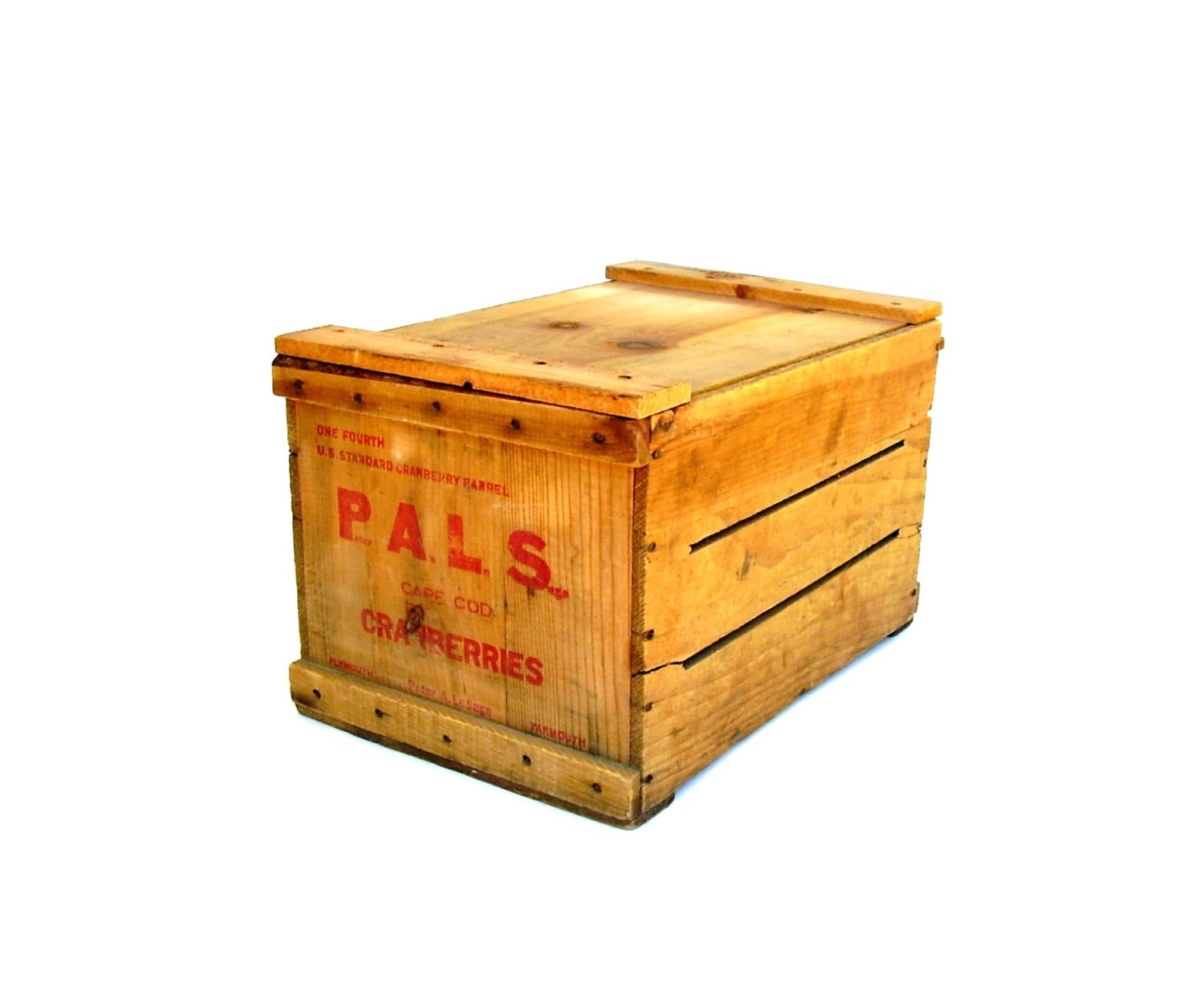 Antique Cape Cod Cranberry Crate Wood Box With Lid Red Stencil