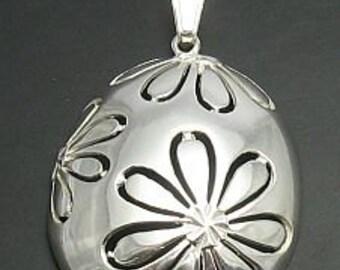 PE000177 Sterling silver pendant  925 Big Flower solid