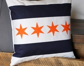 Chicago Flag Pillow | Chicago Bears | Original Home Decor (14x14) Includes Insert