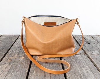STANDARD Leather Cross Body in SANDALWOOD  / / /  large leather messenger bag