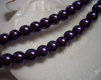 Pearl beads, purple, glass beads, 6mm beads, round, shimmering purple beads, 6mm glass beads, violet, lilac, deep purple, mystic purple