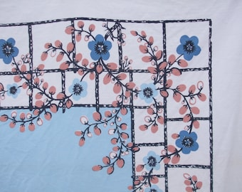 Vintage Tablecloth Light Blue Beige Pink Black Startex Vintage Kitchen Tablecloth