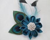 TEAL WEDDING Hair Clip Fascinator, Peacock Hair Piece, Bridal Feather Head Piece, Wedding Hair Flower, Hair Accessory, Birdcage Veil