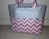 Pink and Gray LDS Scripture Tote with Chevrons and Polka Dots