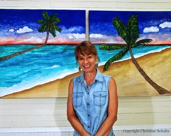 Beach Art Canvas Original Paintings Seaside Diptych On Sale