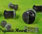 "Amethyst Single Flare Stone Plugs 8g-1/2"" (Sold as Pair) Handmade Body Jewelry Organic Plugs (8g, 6g,4g, 2g, 0g, 00g, 1/2"")"